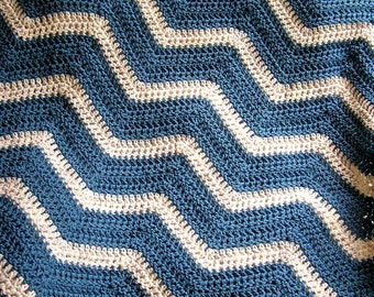 new chevron zig zag baby blanket afghan wrap crochet knit lap robe wheelchair ripple stripes VANNA WHITE yarn blue wheat handmade in the USA