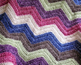 new chevron zig zag baby blanket afghan wrap crochet knit lap wheelchair ripple stripes lion VANNA WHITE yarn multi variegated handmade USA