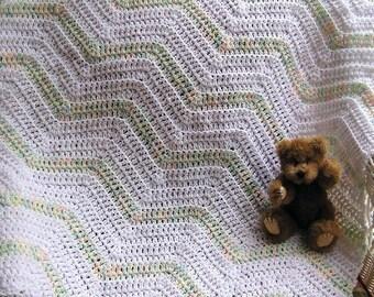 new chevron zig zag baby blanket afghan wrap toddler pastel ripple stripes white baby print crochet knit handmade in the USA