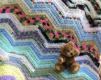 new BOHO HIPPIE chevron zig zag baby blanket afghan wrap toddler ripple variegated multi color crochet handmade in the USA