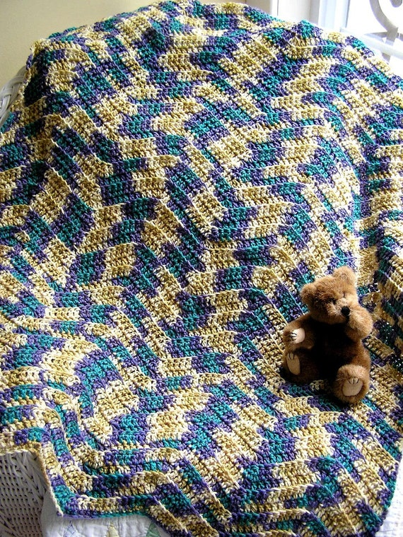 Crocheting A Zig Zag Afghan : chevron zig zag baby afghan crochet knit toddler blanket southwest ...