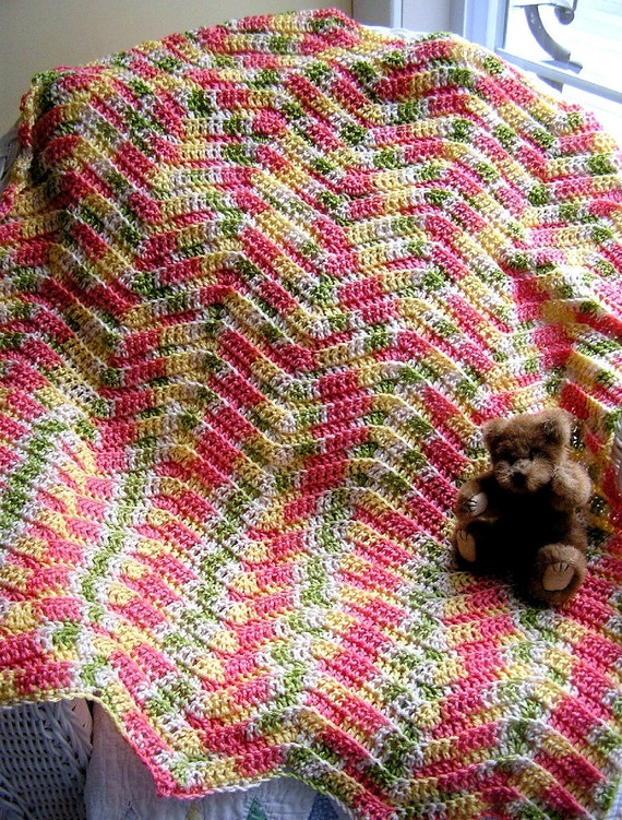 Crochet Zig Zag Baby Blanket : new chevron zig zag baby blanket crochet knit toddler afghan lap robe ...