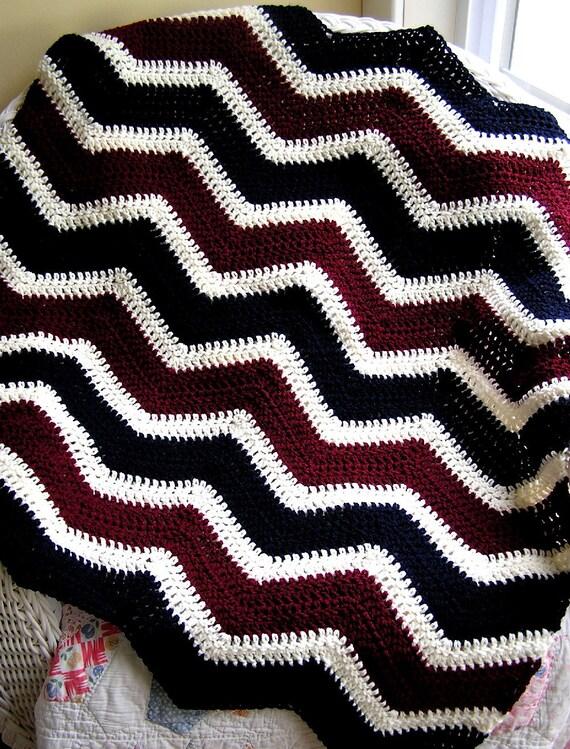 Knitted Zig Zag Afghan Pattern : new chevron zig zag baby blanket toddler crochet knit afghan