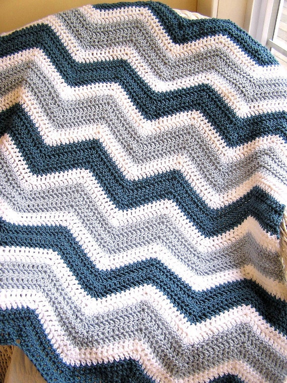 New Chevron Zig Zag Crochet Knit Baby Toddler Afghan Blanket