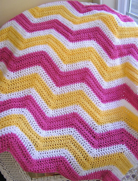 Crocheting A Zig Zag Afghan : chevron zig zag baby blanket afghan wrap crochet knit lap wheelchair ...