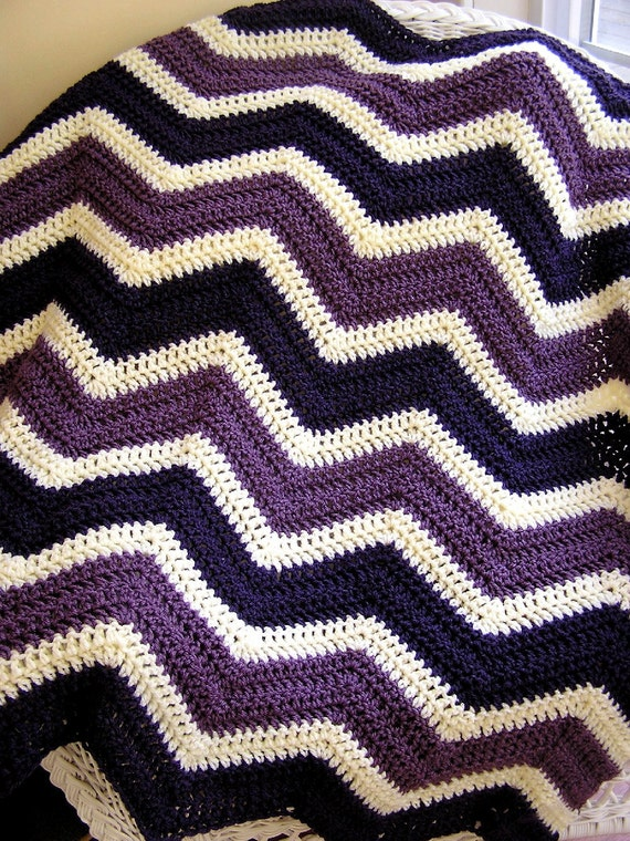 new chevron zig zag baby blanket crochet knit baby afghan lap robe wheelchair ripple stripes lion VANNA WHITE yarn purple cream handmade USA