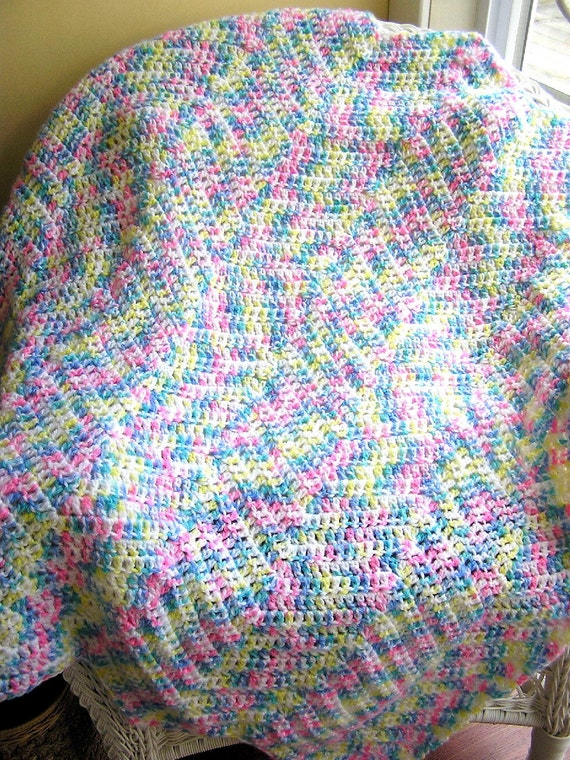 new zig zag baby blanket afghan wrap crochet knit ripple stripes pastel rainbow classic bulky soft crib handmade in the USA