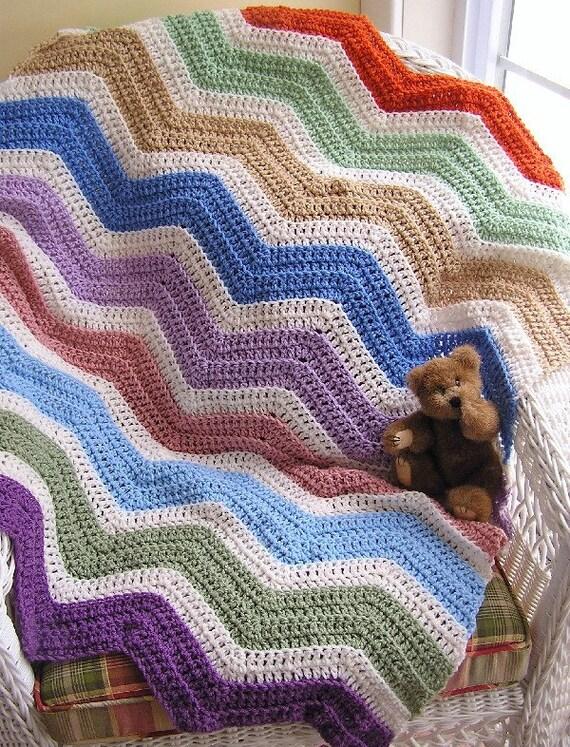 Zigzag Knitting Pattern Baby Blanket : new chevron zig zag crochet knit baby blanket toddler afghan