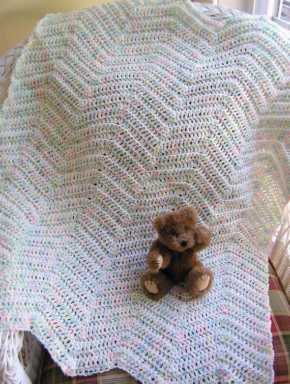 new chevron zig zag baby blanket afghan wrap toddler ripple pastels baby print crochet knit handmade in the USA