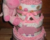 Happy Hippo Girl Diaper Cake