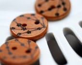 Cherry Blossom Wooden Buttons Woodburning