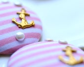 Kiss Me Quick Buttons Pink White Gold Anchor Nautical Giant Buttons