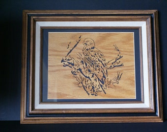 American Bald Eagle in the Tree Top Wood Framed Wall Art
