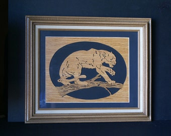 Cougar on Branch Wood Framed Wall Art Scroll Saw