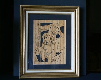 Labradors on the Deck Wood Wall Framed Art Picture