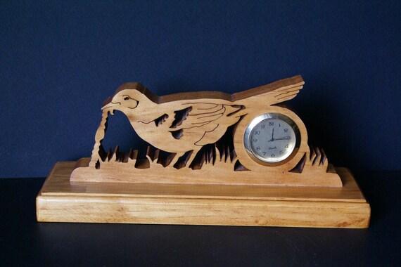 Early Bird gets the Worm Fretwork Clock Scroll Saw Cut