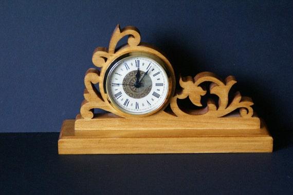 Floral Ornate Wood Fretwork Mantel Clock Scroll Saw Cut