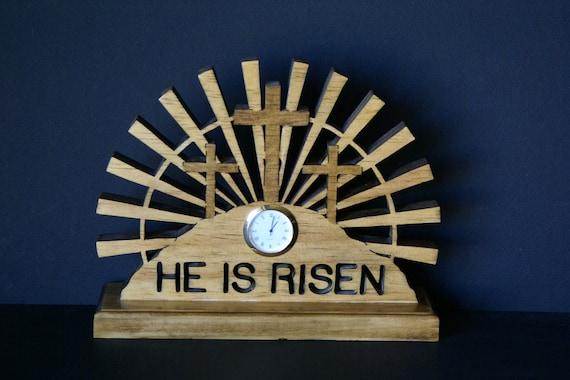 He Is Risen  Wood Fretwork Cross Desk Clock Scroll Saw Cut