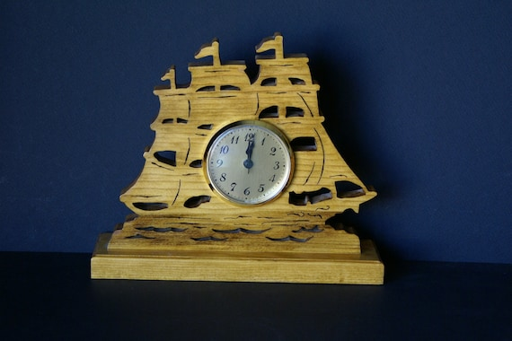 HOLD for Patrick-Schooner Sailing Ship Fretwork Mantel Clock Scroll Saw Cut