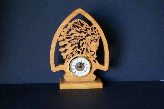 Arrowhead & Indian Chief  Wood Mantel Fretwork Clock Scroll Saw