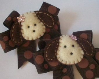 PUPPY P[ggy Tail girls hair bows