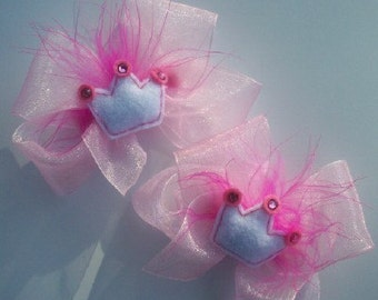 princess tiara hair bows pig tail bows for baby little girls