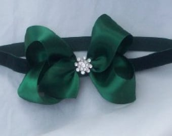 Forest Green Christmas girls hair bow hair clip in satin