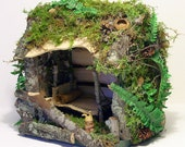Woodland Cottage Fairy House Ferns Moss and Furniture