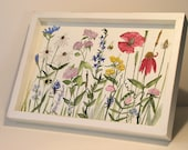 Painted Cottage Farmhouse Furniture Wood Serving Tray Spring Flowers