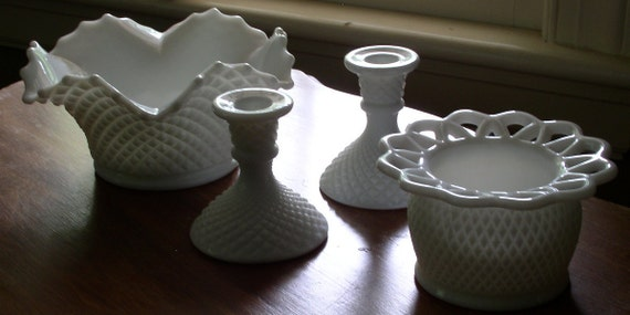 RESERVED Milk Glass Planter and Pair of Candlestick Vintage 1950's