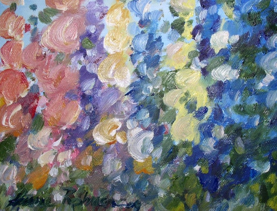 Titled ' Hollyhocks and Larkspur ' by Laurie Rohner
