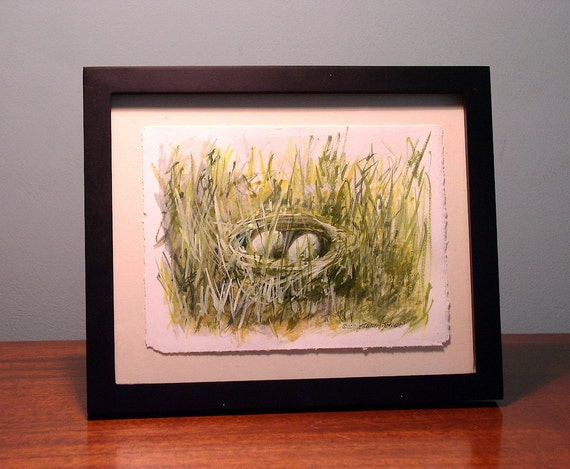 Watercolor Natural History Nature Birds Nest