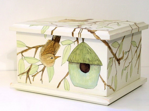 Painted Furniture Cottage Wooden Storage Box Birdhouse Birds
