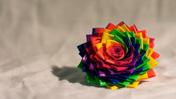Rainbow Duct Tape Rose Ring OR Hair Clip