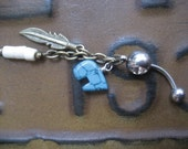 Belly Button Ring- Turquoise Zuni Bear Feather Charm Navel Piercing