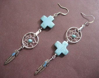 Asymmmetrical South Western Turquoise Cross Dream Catcher Silver Plate Earrings