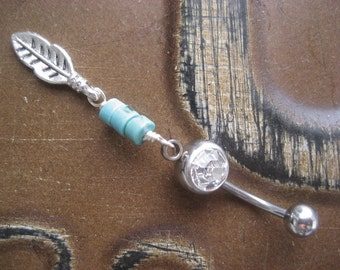 Belly Button Jewelry Ring- Delicate Turquoise Stone Leaf Beaded Dangle Navel Piercing