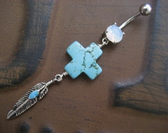 Belly Button Ring Jewelry, Western Cross Belly Button Ring- Turquoise Feather Charm Dangle Navel Piercing Belly Button Ring Jewelry