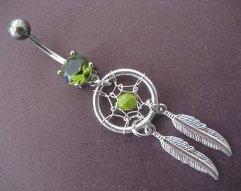 Belly Button Ring Jewelry, Belly Button Jewelry- Chartreuse Green Dream Catcher Ring Beaded Silver Feather Dangle Dreamcatcher Navel Piercin
