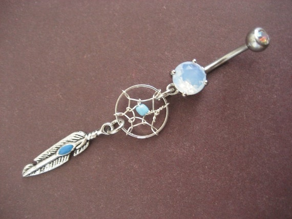 Turquoise Dream Catcher Belly Button Ring Jewelry Enamel Dreamcatcher Belly Button Piercing