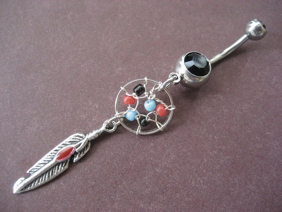 Dream Catcher Belly Button Ring- Red Turquoise and Black Beaded Feather Charm Dreamcatcher Dangle Navel Piercing