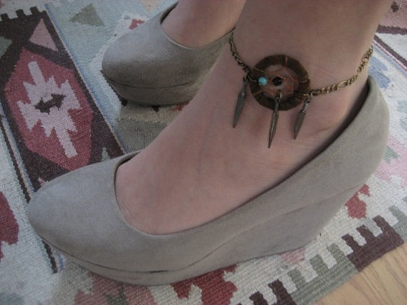 Items Similar To Brown Leather Dream Catcher Anklet
