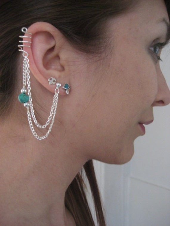 Cartilage Chain Ear Cuff Wrap Earring Turquoise Stone Beaded