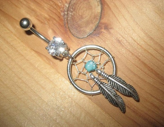 Belly Button Jewelry- Turquoise Feather Dream Catcher Ring- Stone Dreamcatcher Charm Dangle Navel Piercing