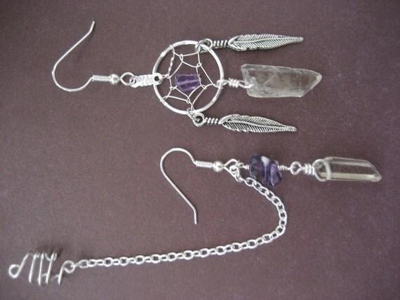 Natural Quartz Crystal Point Amethyst Dream Catcher Asymmetric Chain Ear Cuff Earrings Dreamcatcher Asymmetrical Earcuff
