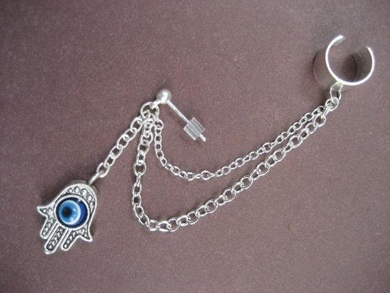 Single Hamsa Turkish Evil Eye Chain Ear Cuff and Chain Earcuff Cartilage Wrap Earring