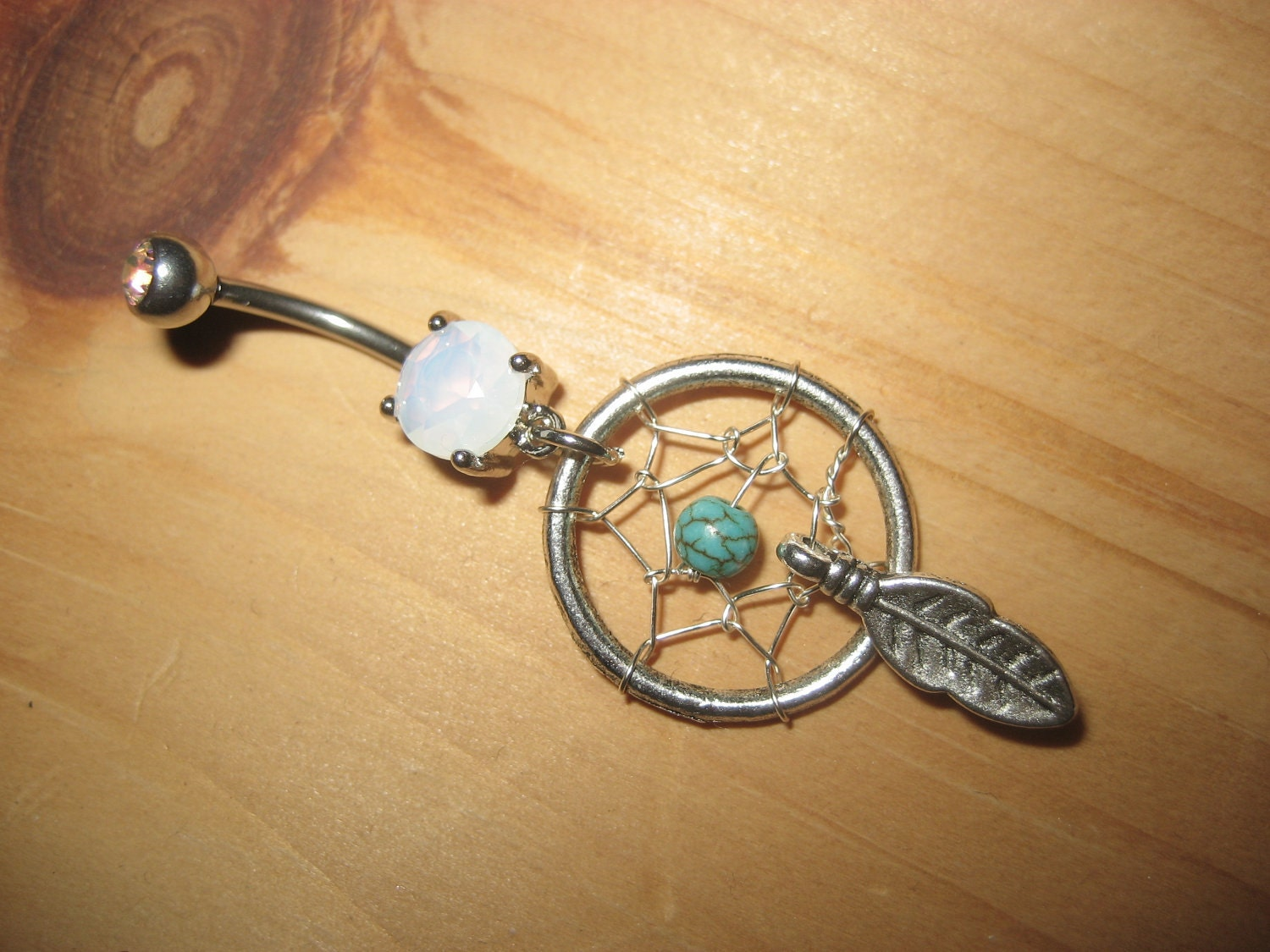 Items similar to Turquoise Dream Catcher Belly Button Ring ...