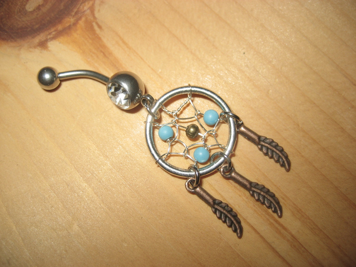 Turquoise Dream Catcher Belly Button Ring Dreamcatcher Navel