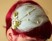 Dreaming in blue, pale aqua blue feather headband with vintage flowers and tulle