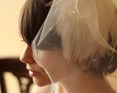 White wedding feathers & tulle fascinator, ready to ship